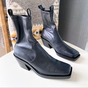 ZARA Heeled Square Toe Black Ankle Pull On Cowboy Boots Women's Size US 7.5